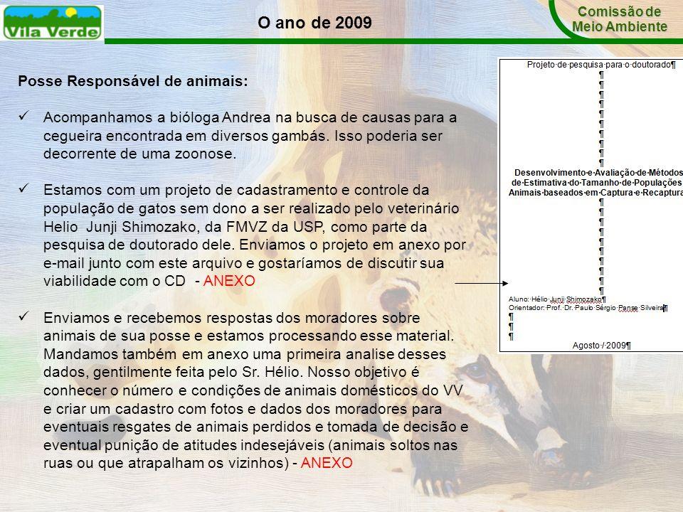 O ano de 2009 Comissão de Meio Ambiente Posse Responsável de animais: Acompanhamos a bióloga Andrea na busca de causas para a cegueira encontrada em d