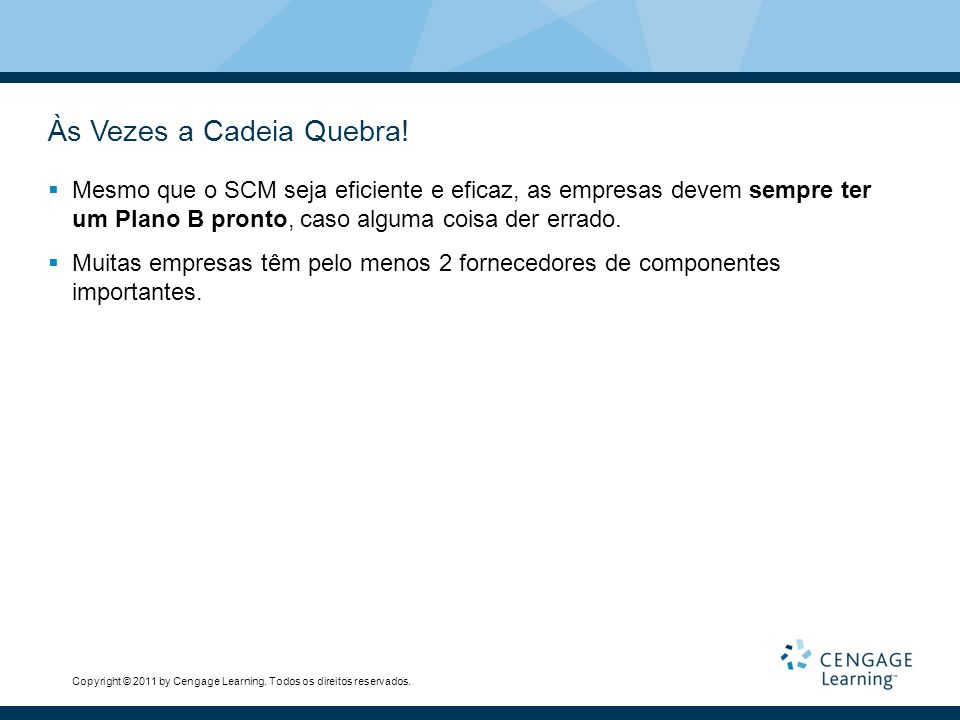 Copyright © 2011 by Cengage Learning.Todos os direitos reservados.