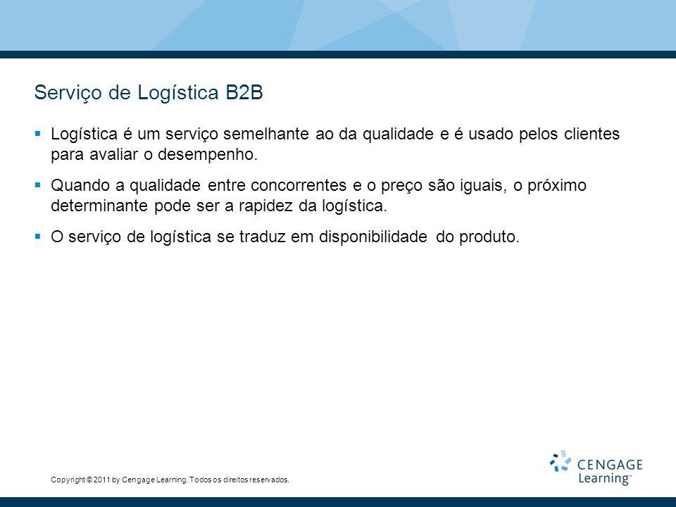 Copyright © 2011 by Cengage Learning. Todos os direitos reservados. Serviço de Logística B2B Logística é um serviço semelhante ao da qualidade e é usa