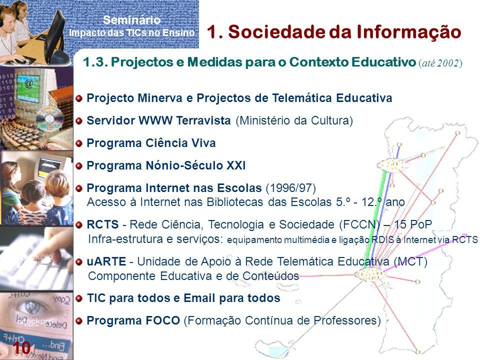 Seminário Impacto das TICs no Ensino 10 1. Sociedade da Informação 1.3. Projectos e Medidas para o Contexto Educativo (até 2002) Projecto Minerva e Pr