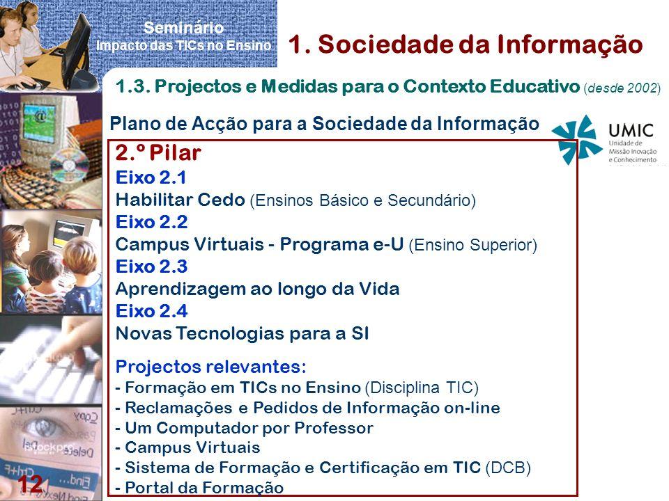 Seminário Impacto das TICs no Ensino 12 Plano de Acção para a Sociedade da Informação 1. Sociedade da Informação 1.3. Projectos e Medidas para o Conte