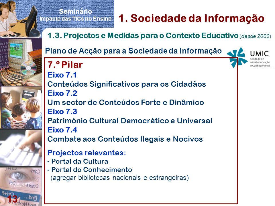 Seminário Impacto das TICs no Ensino 13 Plano de Acção para a Sociedade da Informação 1. Sociedade da Informação 1.3. Projectos e Medidas para o Conte