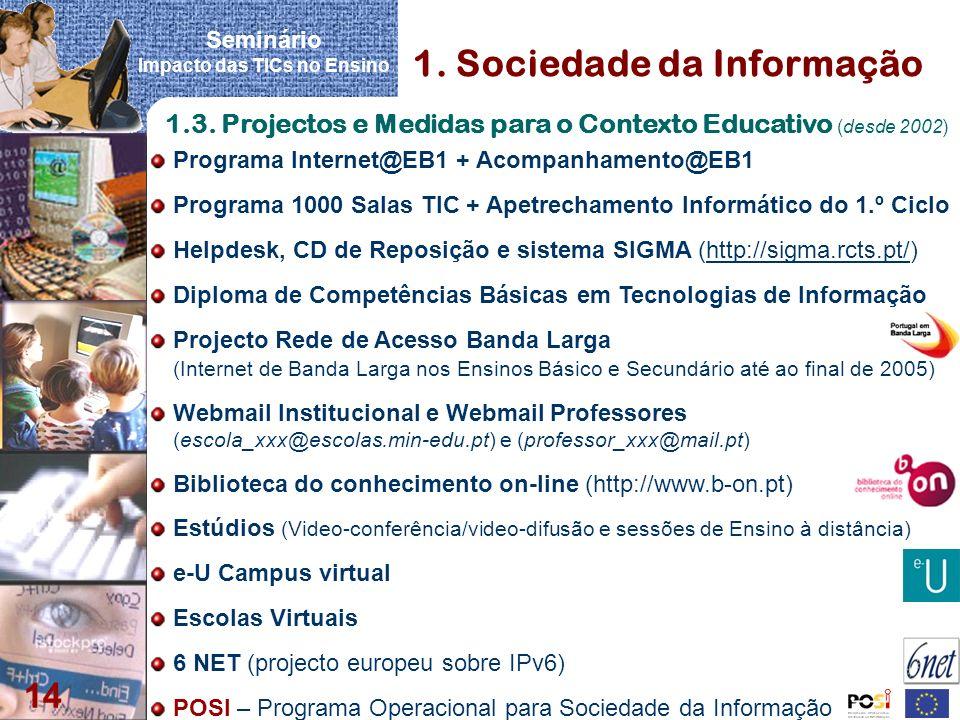 Seminário Impacto das TICs no Ensino 14 1. Sociedade da Informação 1.3. Projectos e Medidas para o Contexto Educativo (desde 2002) Programa Internet@E