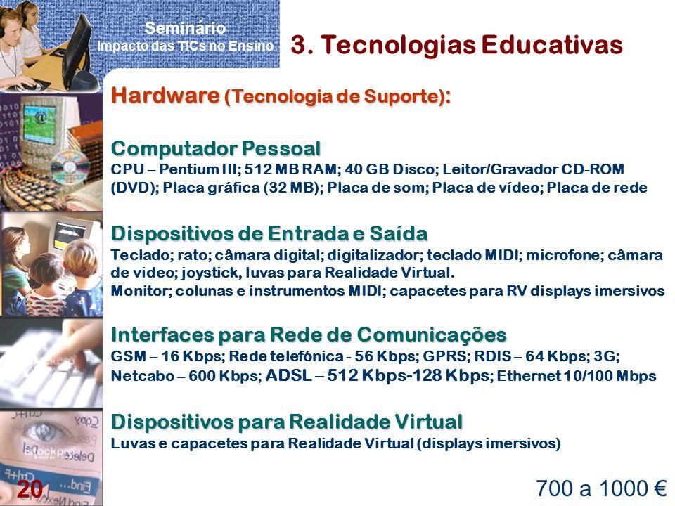 Seminário Impacto das TICs no Ensino 20 3. Tecnologias Educativas Hardware (Tecnologia de Suporte) : Computador Pessoal Computador Pessoal CPU – Penti
