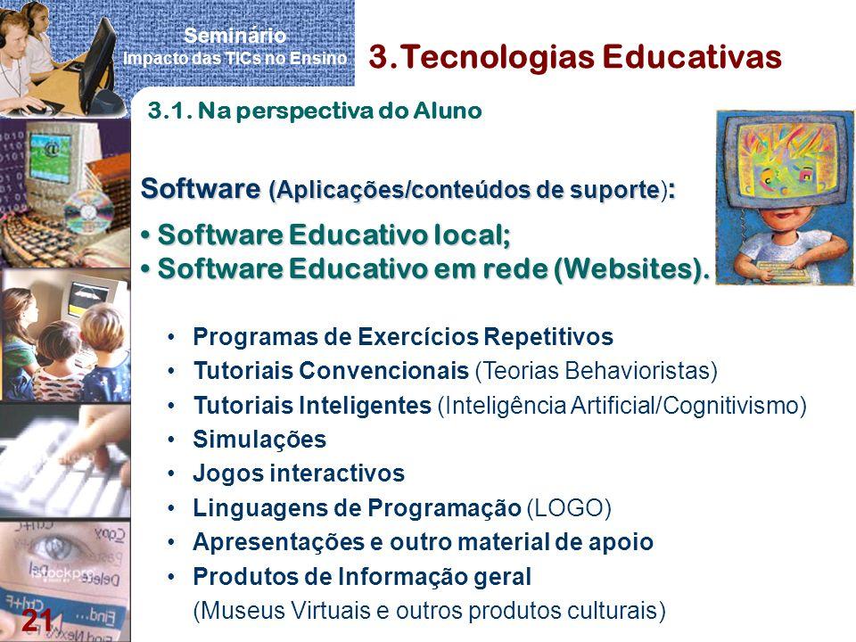 Seminário Impacto das TICs no Ensino 21 3.Tecnologias Educativas Software (Aplicações/conteúdos de suporte : Software (Aplicações/conteúdos de suporte