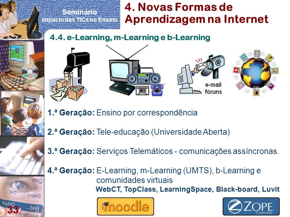Seminário Impacto das TICs no Ensino 33 4. Novas Formas de Aprendizagem na Internet 1.ª Geração: Ensino por correspondência 2.ª Geração: Tele-educação