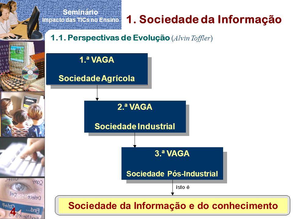 Seminário Impacto das TICs no Ensino 4 1. Sociedade da Informação 1.1. Perspectivas de Evolução ( Alvin Toffler ) 1.ª VAGA Sociedade Agrícola 2.ª VAGA