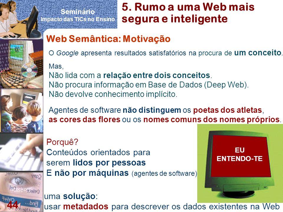 Seminário Impacto das TICs no Ensino 44 Web Semântica: Motivação Agentes de software não distinguem os poetas dos atletas, as cores das flores ou os n