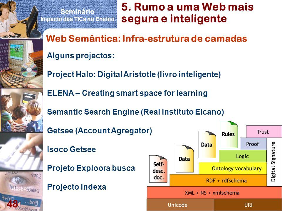 Seminário Impacto das TICs no Ensino 48 Web Semântica: Infra-estrutura de camadas Alguns projectos: Project Halo: Digital Aristotle (livro inteligente