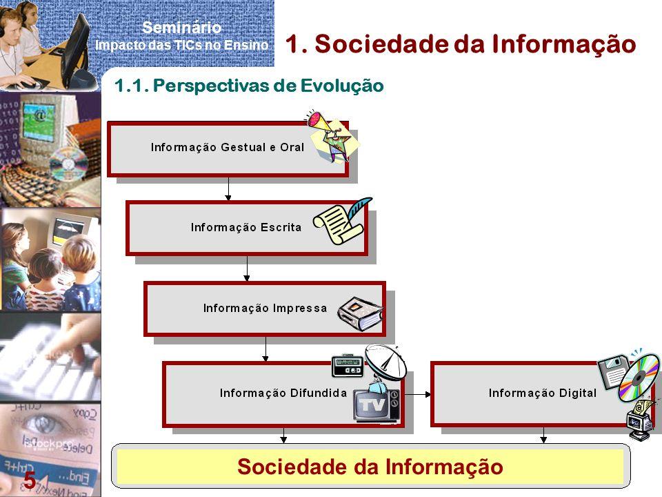 Seminário Impacto das TICs no Ensino 5 1. Sociedade da Informação 1.1. Perspectivas de Evolução Sociedade da Informação