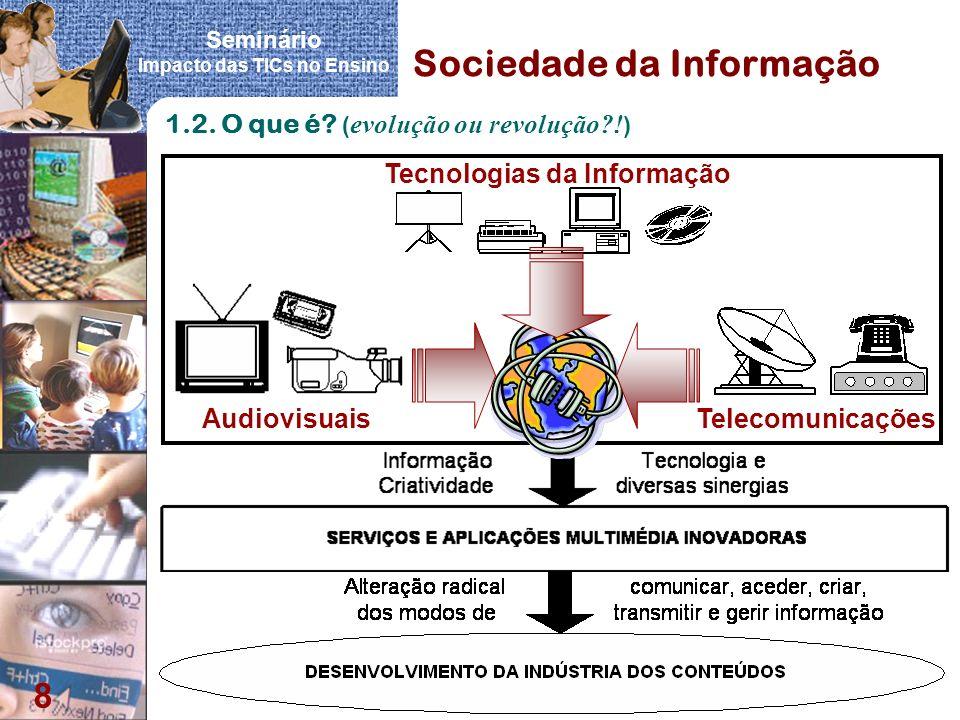 Seminário Impacto das TICs no Ensino 8 Sociedade da Informação 1.2. O que é? ( evolução ou revolução?! ) Tecnologias da Informação Audiovisuais Teleco