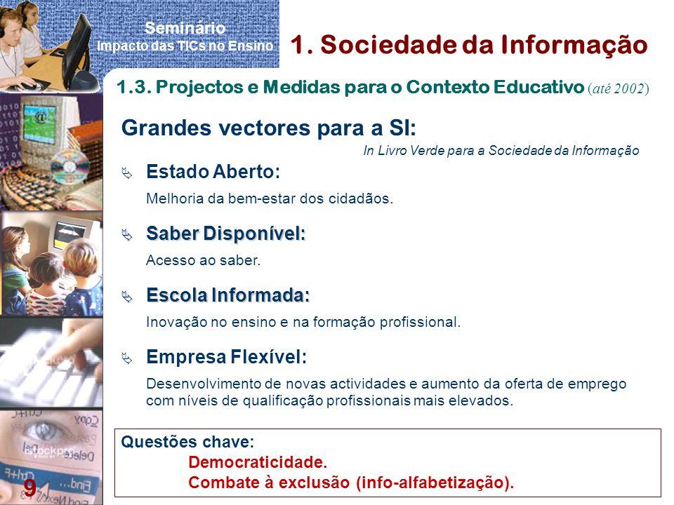 Seminário Impacto das TICs no Ensino 9 Grandes vectores para a SI: In Livro Verde para a Sociedade da Informação Estado Aberto: Melhoria da bem-estar