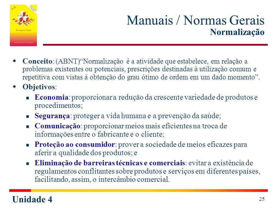 Unidade 4 25 Manuais / Normas Gerais Normalização Conceito: (ABNT)Normalização é a atividade que estabelece, em relação a problemas existentes ou pote