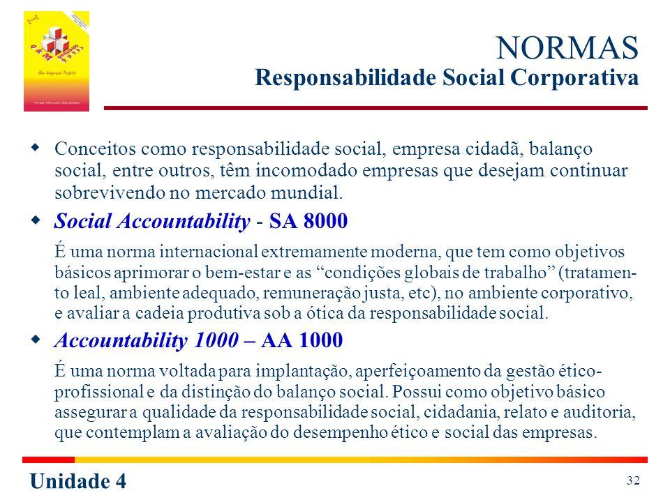 Unidade 4 32 NORMAS Responsabilidade Social Corporativa Conceitos como responsabilidade social, empresa cidadã, balanço social, entre outros, têm incomodado empresas que desejam continuar sobrevivendo no mercado mundial.