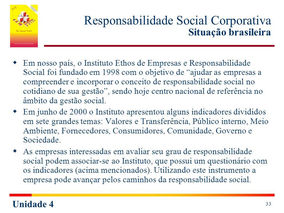 Unidade 4 33 Responsabilidade Social Corporativa Situação brasileira Em nosso país, o Instituto Ethos de Empresas e Responsabilidade Social foi fundado em 1998 com o objetivo de ajudar as empresas a compreender e incorporar o conceito de responsabilidade social no cotidiano de sua gestão, sendo hoje centro nacional de referência no âmbito da gestão social.