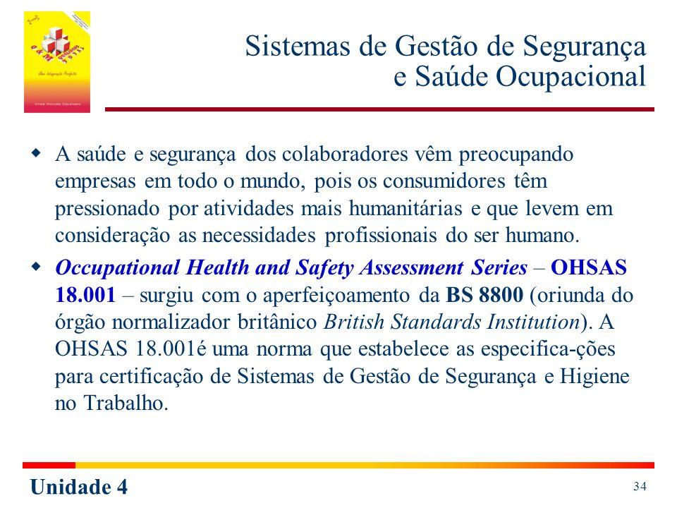 Unidade 4 34 Sistemas de Gestão de Segurança e Saúde Ocupacional A saúde e segurança dos colaboradores vêm preocupando empresas em todo o mundo, pois
