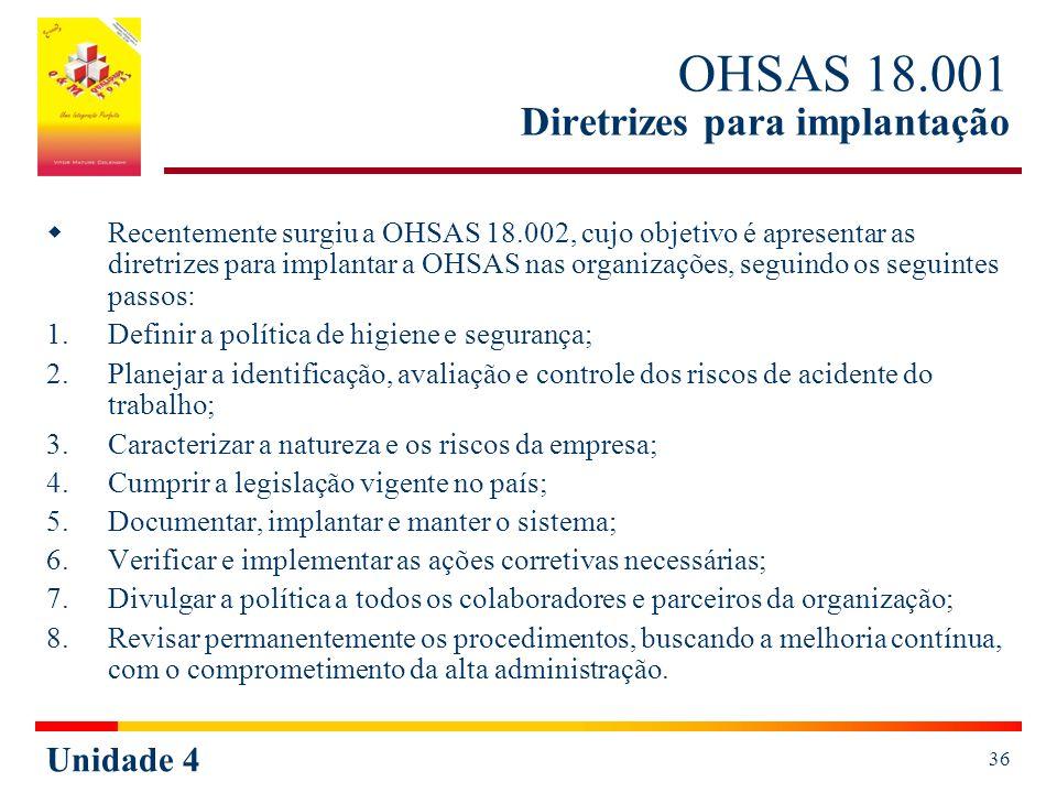 Unidade 4 36 OHSAS 18.001 Diretrizes para implantação Recentemente surgiu a OHSAS 18.002, cujo objetivo é apresentar as diretrizes para implantar a OHSAS nas organizações, seguindo os seguintes passos: 1.Definir a política de higiene e segurança; 2.Planejar a identificação, avaliação e controle dos riscos de acidente do trabalho; 3.Caracterizar a natureza e os riscos da empresa; 4.Cumprir a legislação vigente no país; 5.Documentar, implantar e manter o sistema; 6.Verificar e implementar as ações corretivas necessárias; 7.Divulgar a política a todos os colaboradores e parceiros da organização; 8.Revisar permanentemente os procedimentos, buscando a melhoria contínua, com o comprometimento da alta administração.