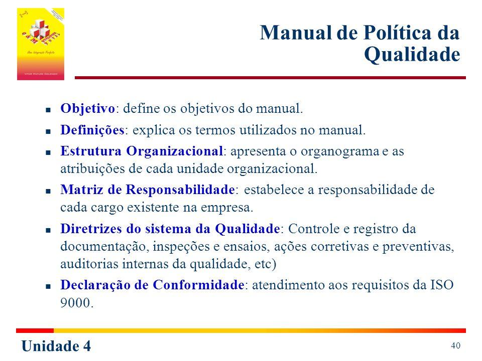 Unidade 4 40 Manual de Política da Qualidade Objetivo: define os objetivos do manual. Definições: explica os termos utilizados no manual. Estrutura Or