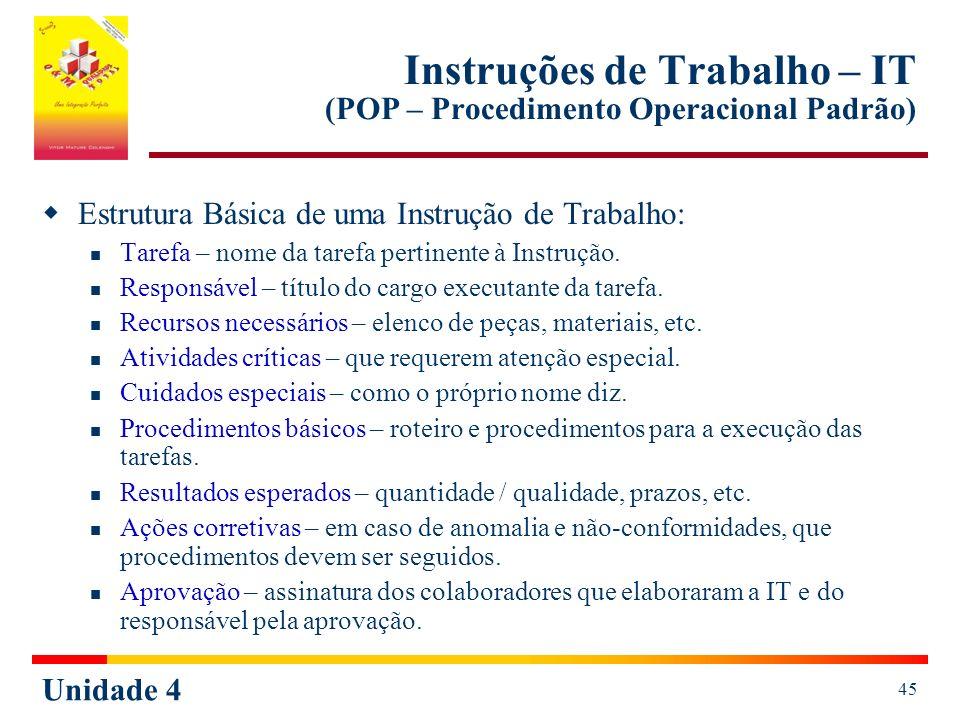 Unidade 4 45 Instruções de Trabalho – IT (POP – Procedimento Operacional Padrão) Estrutura Básica de uma Instrução de Trabalho: Tarefa – nome da taref