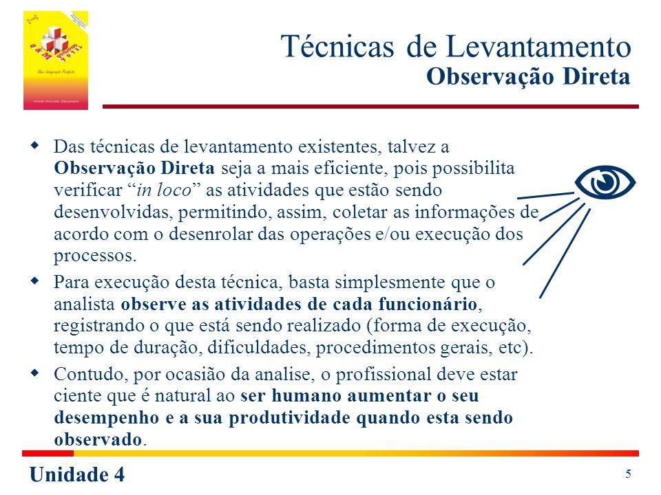 Unidade 4 5 Técnicas de Levantamento Observação Direta Das técnicas de levantamento existentes, talvez a Observação Direta seja a mais eficiente, pois