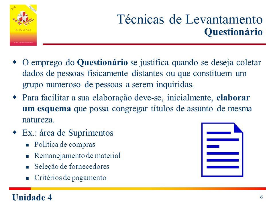 Unidade 4 6 Técnicas de Levantamento Questionário O emprego do Questionário se justifica quando se deseja coletar dados de pessoas fisicamente distant
