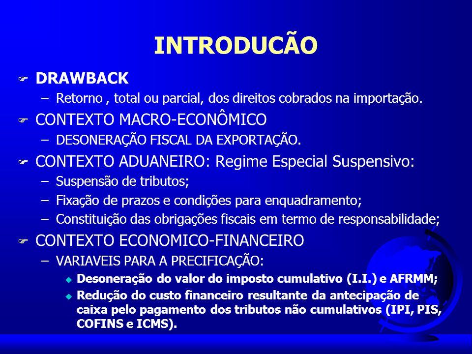 DRAWBACK DEFINIÇÃO É um benefício concedido aos exportadores, que permite a desoneração de tributos devidos na importação de insumos utilizados no processo de industrialização de produtos exportados ou a serem exportados.