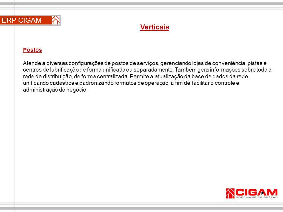 ERP CIGAM Verticais Postos Atende a diversas configurações de postos de serviços, gerenciando lojas de conveniência, pistas e centros de lubrificação