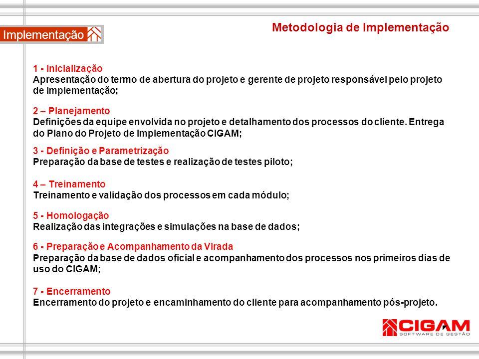 Metodologia de Implementação 1 - Inicialização Apresentação do termo de abertura do projeto e gerente de projeto responsável pelo projeto de implement