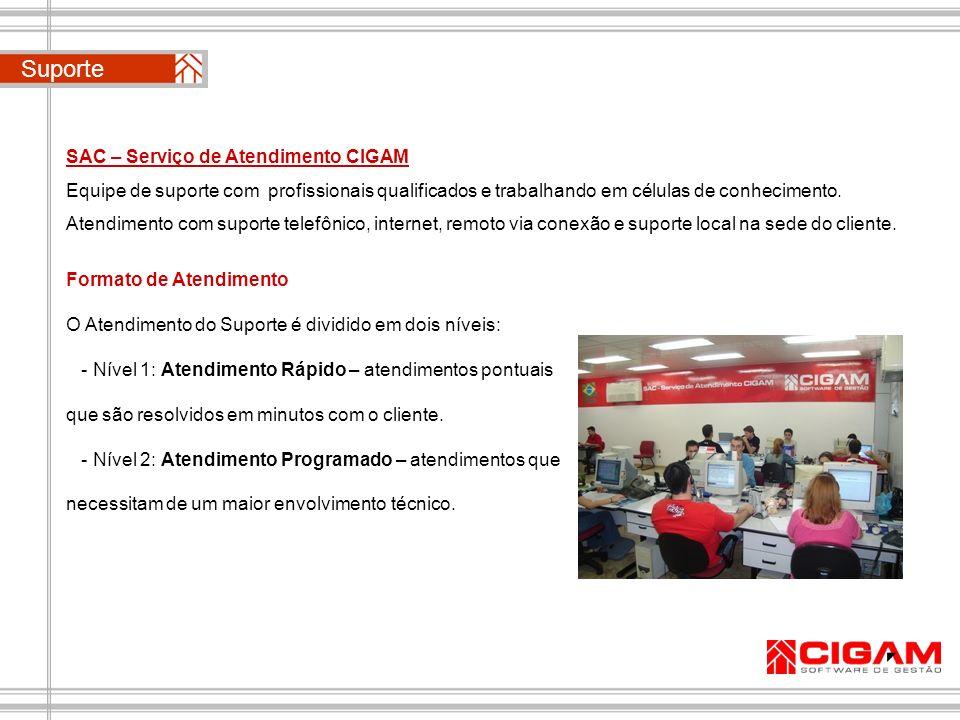 SAC – Serviço de Atendimento CIGAM Equipe de suporte com profissionais qualificados e trabalhando em células de conhecimento. Atendimento com suporte