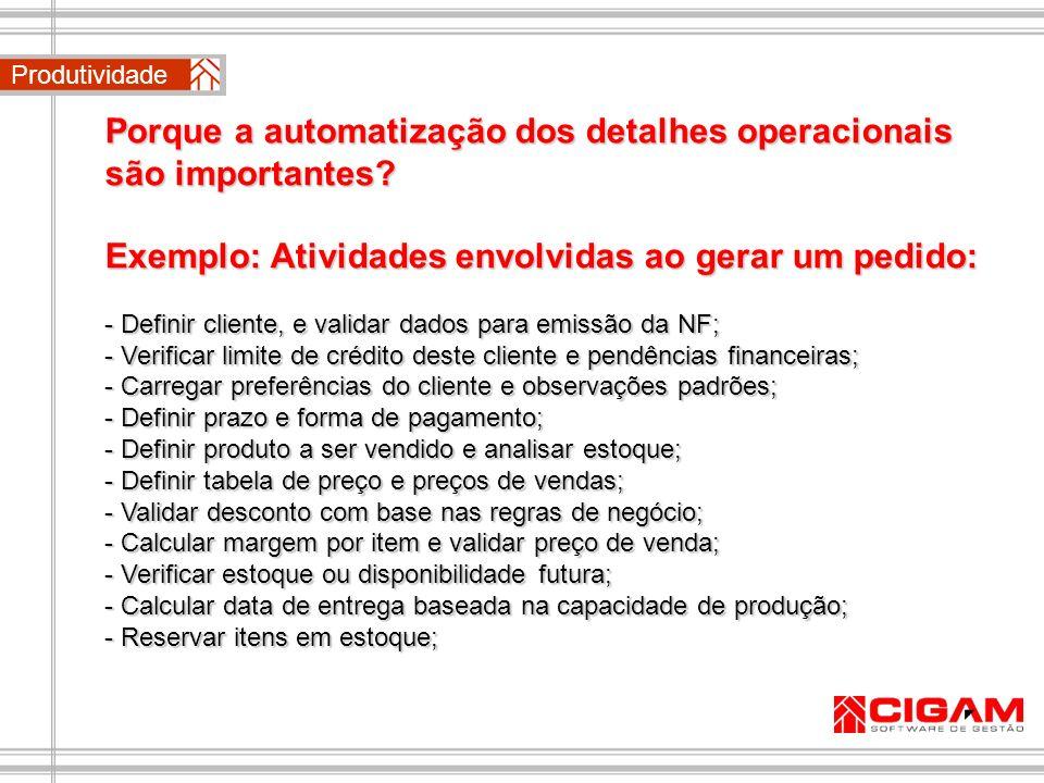Porque a automatização dos detalhes operacionais são importantes? Exemplo: Atividades envolvidas ao gerar um pedido: - Definir cliente, e validar dado