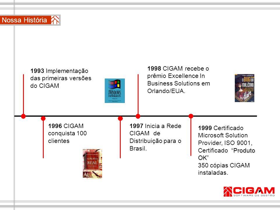 1993 Implementação das primeiras versões do CIGAM 1996 CIGAM conquista 100 clientes 1998 CIGAM recebe o prêmio Excellence In Business Solutions em Orl