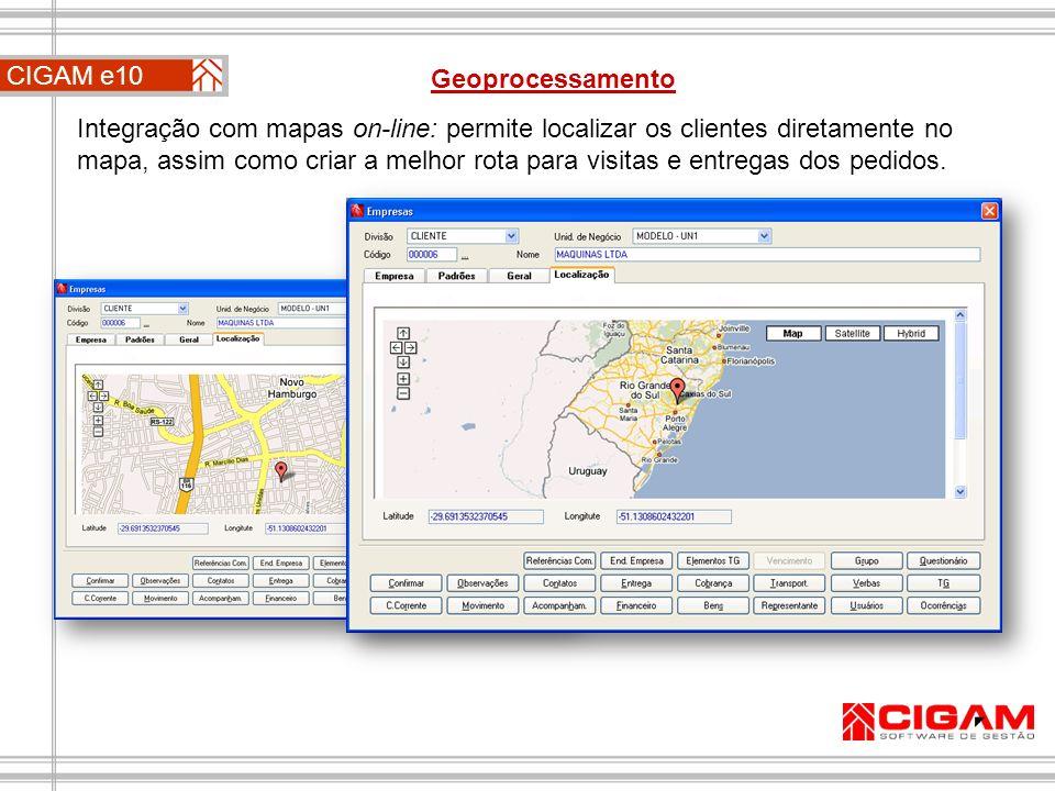 Integração com mapas on-line: permite localizar os clientes diretamente no mapa, assim como criar a melhor rota para visitas e entregas dos pedidos. C