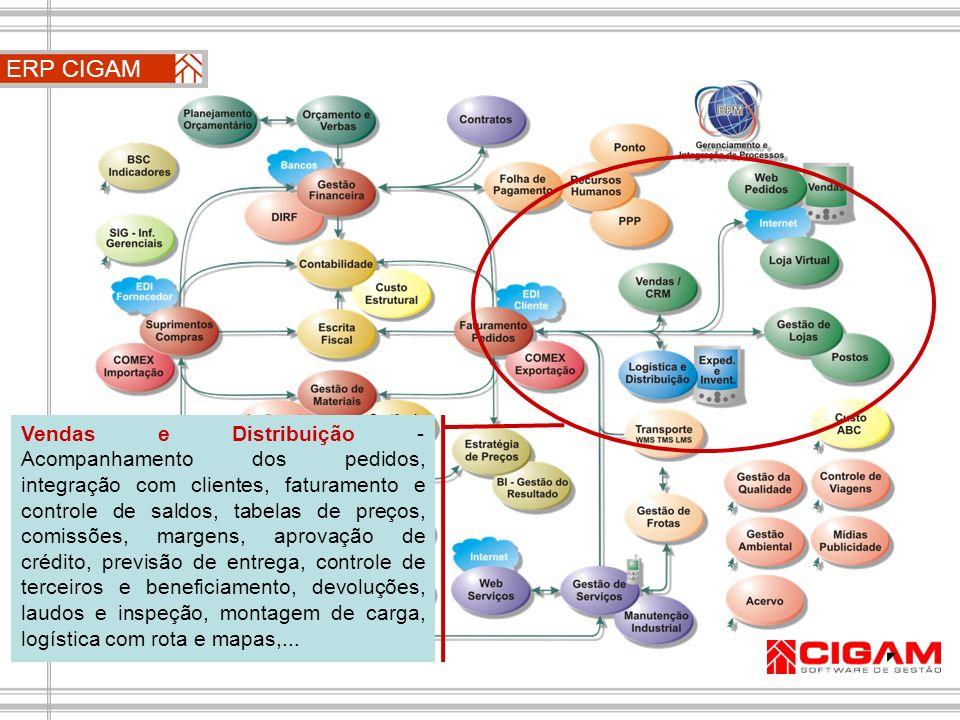 ERP CIGAM Vendas e Distribuição - Acompanhamento dos pedidos, integração com clientes, faturamento e controle de saldos, tabelas de preços, comissões,