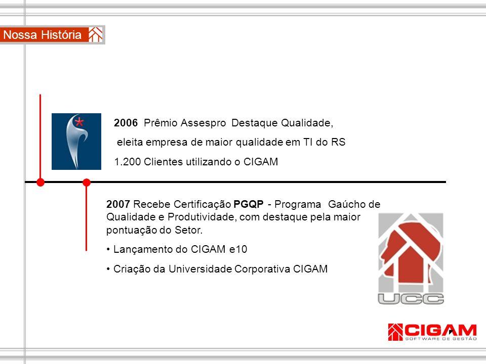2006 Prêmio Assespro Destaque Qualidade, eleita empresa de maior qualidade em TI do RS 1.200 Clientes utilizando o CIGAM 2007 Recebe Certificação PGQP