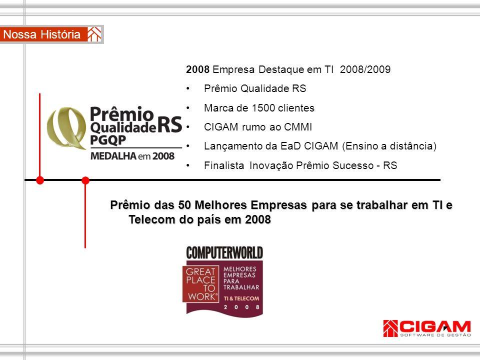 2008 Empresa Destaque em TI 2008/2009 Prêmio Qualidade RS Marca de 1500 clientes CIGAM rumo ao CMMI Lançamento da EaD CIGAM (Ensino a distância) Final