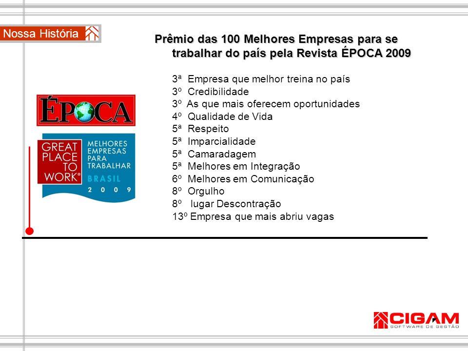 Nossa História Prêmio das 100 Melhores Empresas para se trabalhar do país pela Revista ÉPOCA 2009 3ª Empresa que melhor treina no país 3º Credibilidad