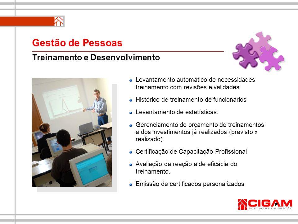 Treinamento e Desenvolvimento Levantamento automático de necessidades treinamento com revisões e validades Histórico de treinamento de funcionários Le