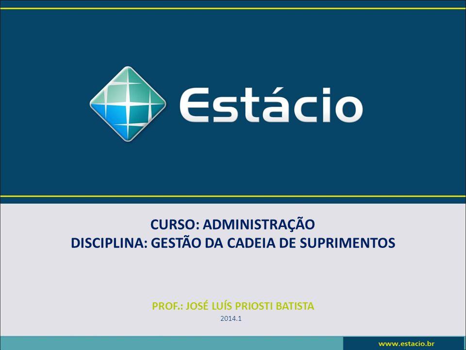 CURSO: ADMINISTRAÇÃO DISCIPLINA: GESTÃO DA CADEIA DE SUPRIMENTOS PROF.: JOSÉ LUÍS PRIOSTI BATISTA 2014.1