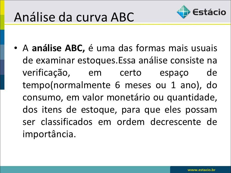 Análise da curva ABC A análise ABC, é uma das formas mais usuais de examinar estoques.Essa análise consiste na verificação, em certo espaço de tempo(normalmente 6 meses ou 1 ano), do consumo, em valor monetário ou quantidade, dos itens de estoque, para que eles possam ser classificados em ordem decrescente de importância.