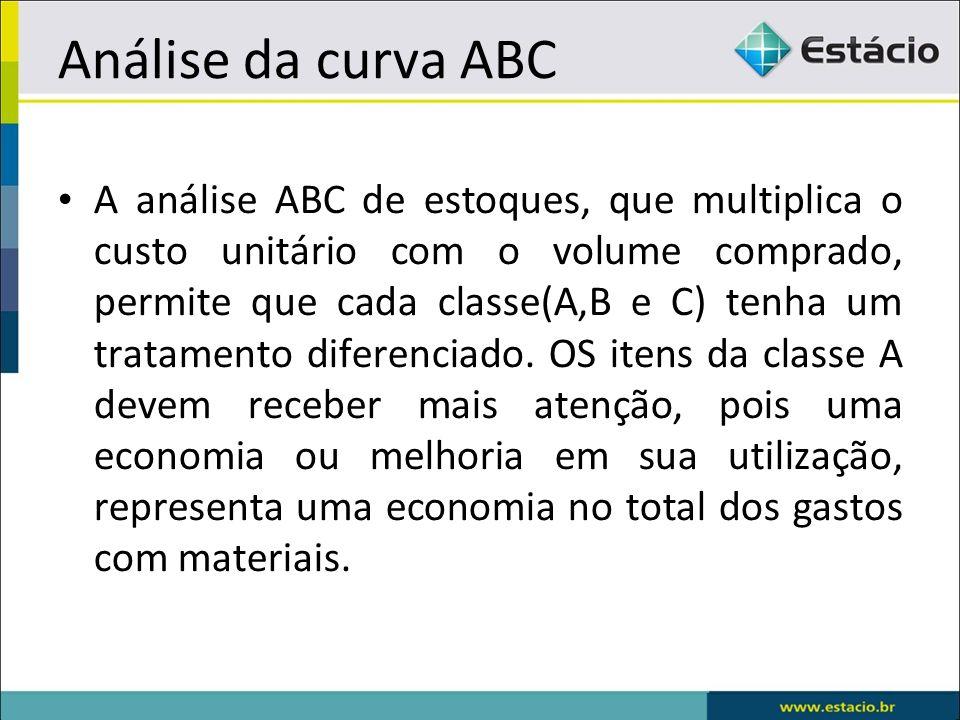 Análise da curva ABC A análise ABC de estoques, que multiplica o custo unitário com o volume comprado, permite que cada classe(A,B e C) tenha um tratamento diferenciado.