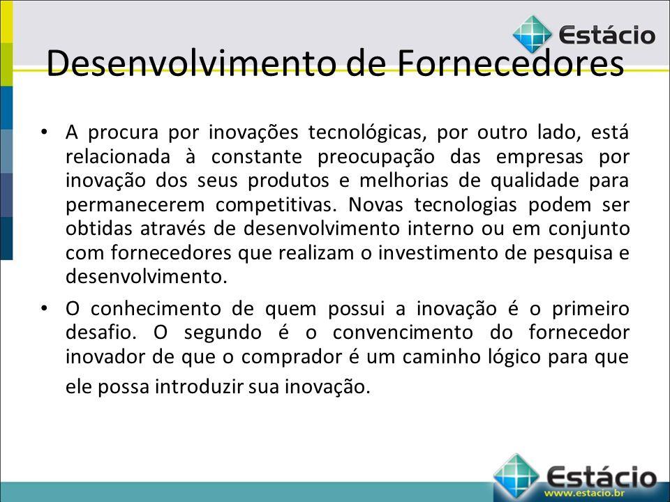 Desenvolvimento de Fornecedores A procura por inovações tecnológicas, por outro lado, está relacionada à constante preocupação das empresas por inovação dos seus produtos e melhorias de qualidade para permanecerem competitivas.