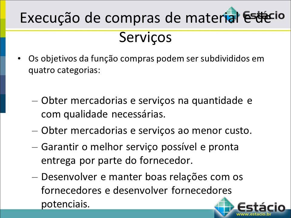 Execução de compras de material e de Serviços Os objetivos da função compras podem ser subdivididos em quatro categorias: – Obter mercadorias e serviços na quantidade e com qualidade necessárias.