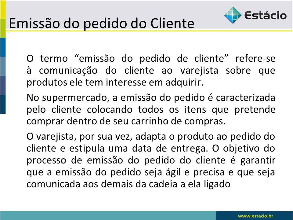 Emissão do pedido do Cliente O termo emissão do pedido de cliente refere-se à comunicação do cliente ao varejista sobre que produtos ele tem interesse em adquirir.