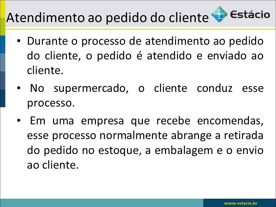 Atendimento ao pedido do cliente Durante o processo de atendimento ao pedido do cliente, o pedido é atendido e enviado ao cliente.