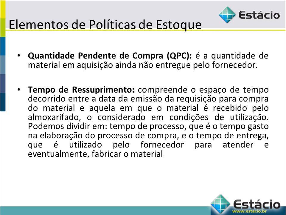 Elementos de Políticas de Estoque Quantidade Pendente de Compra (QPC): é a quantidade de material em aquisição ainda não entregue pelo fornecedor.