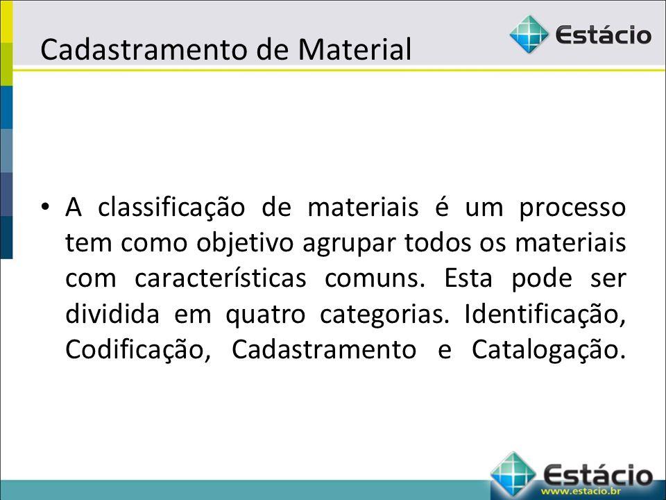 Cadastramento de Material A classificação de materiais é um processo tem como objetivo agrupar todos os materiais com características comuns.