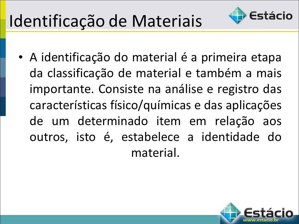 Identificação de Materiais A identificação do material é a primeira etapa da classificação de material e também a mais importante.