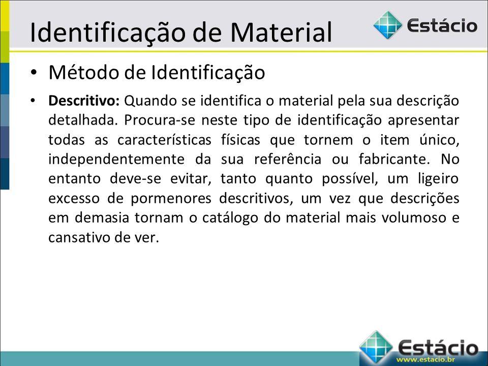 Identificação de Material Método de Identificação Descritivo: Quando se identifica o material pela sua descrição detalhada.