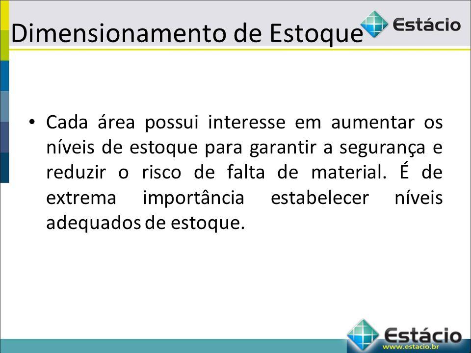 Dimensionamento de Estoque Cada área possui interesse em aumentar os níveis de estoque para garantir a segurança e reduzir o risco de falta de material.