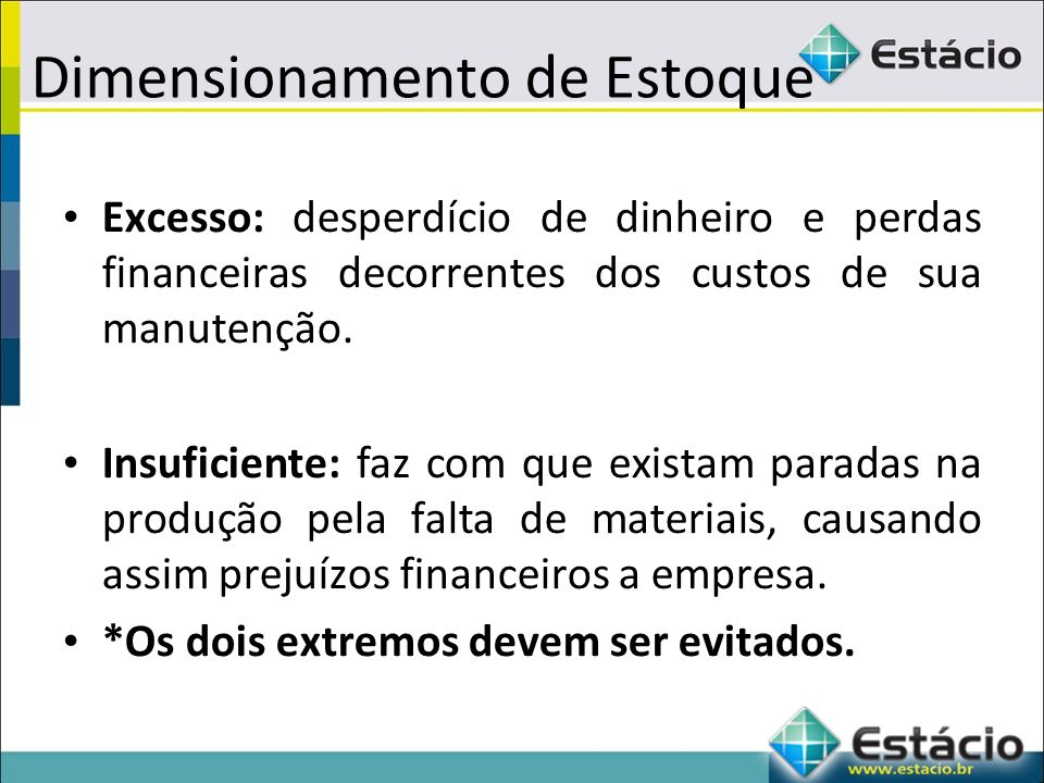 Dimensionamento de Estoque Excesso: desperdício de dinheiro e perdas financeiras decorrentes dos custos de sua manutenção.